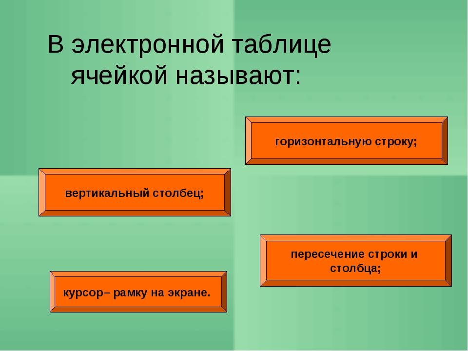 горизонтальную строку; вертикальный столбец; пересечение строки и столбца; В...