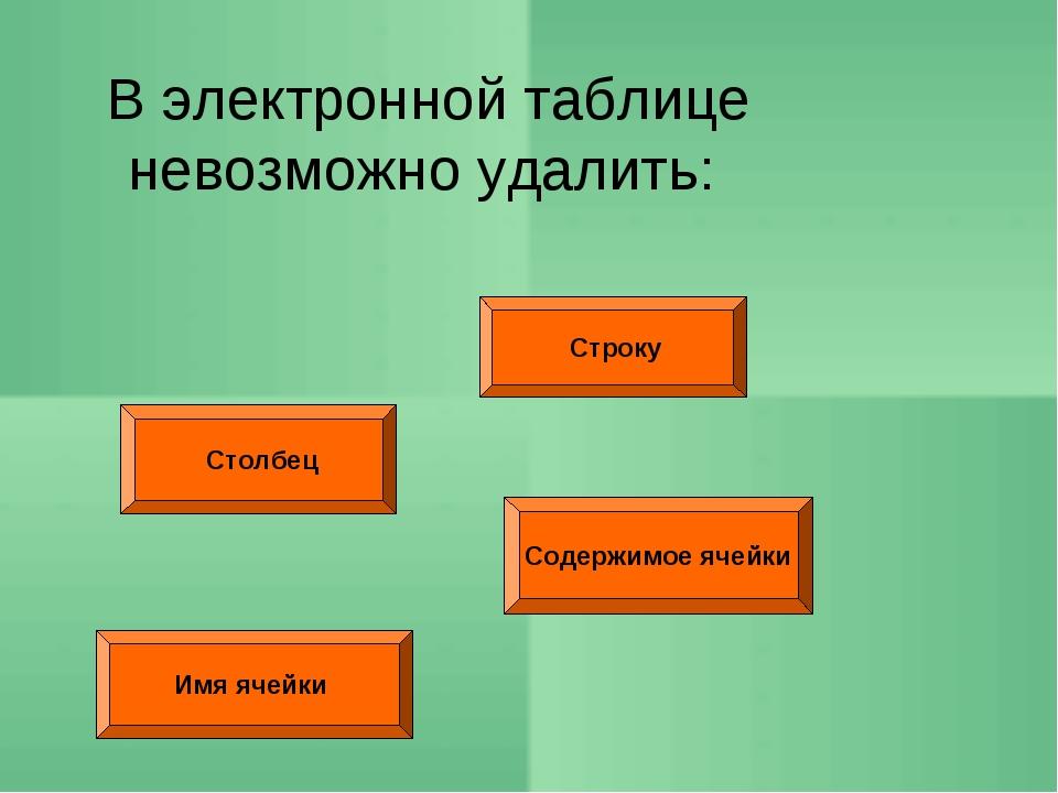Строку Столбец Содержимое ячейки В электронной таблице невозможно удалить: И...