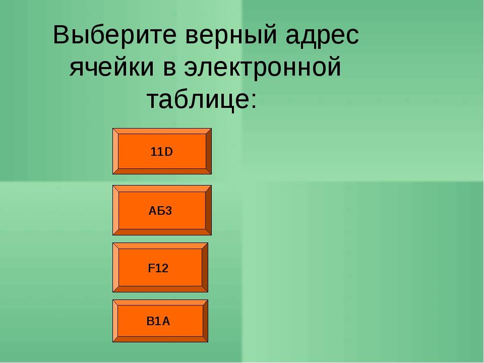 11D F12 АБ3 Выберите верный адрес ячейки в электронной таблице: В1А