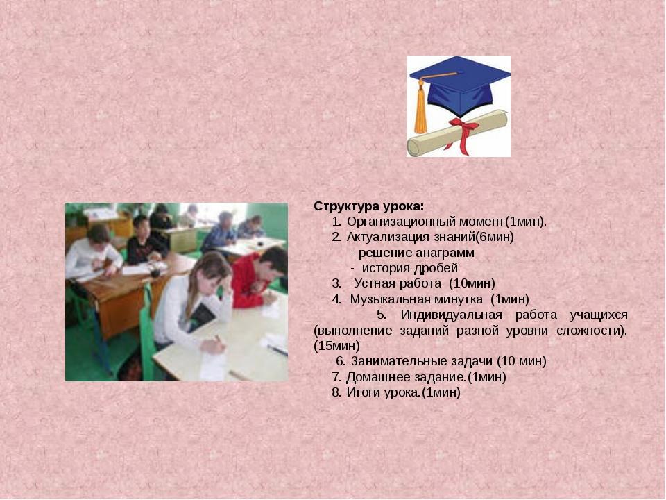 Структура урока: 1. Организационный момент(1мин). 2. Актуализация знаний(6мин...
