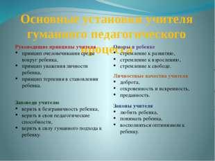Основные установки учителя гуманного педагогического процесса Опоры в ребенке