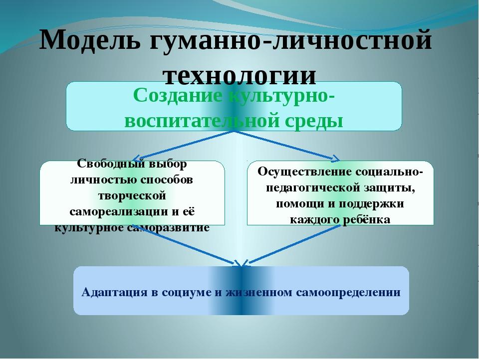 Создание культурно-воспитательной среды Свободный выбор личностью способов тв...