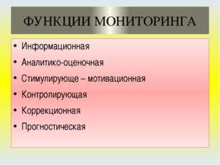 ФУНКЦИИ МОНИТОРИНГА Информационная Аналитико-оценочная Стимулирующе – мотивац