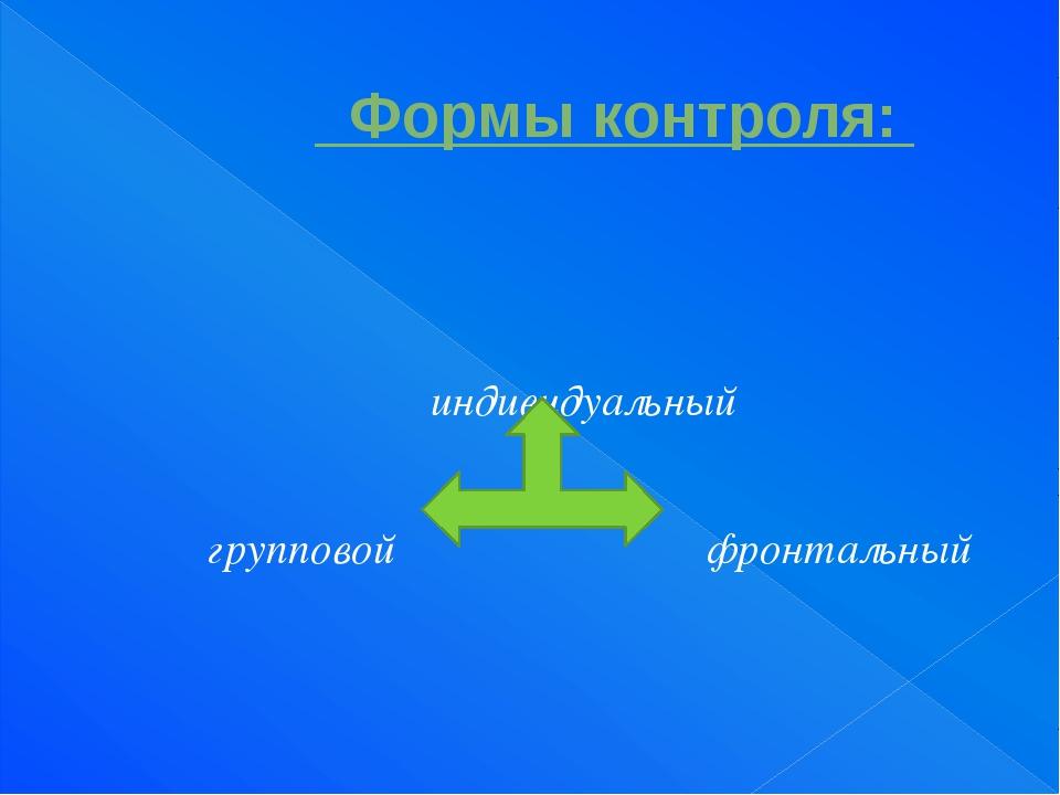 Формы контроля: индивидуальный групповой фронтальный