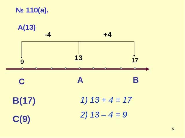 * № 110(а). А(13) А В В(17) С С(9) 1) 13 + 4 = 17 2) 13 – 4 = 9 13 +4 -4 17 9