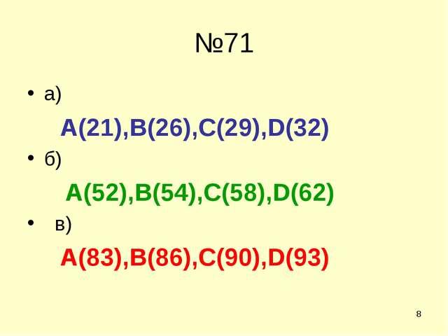 * №71 а) А(21),В(26),С(29),D(32) б) A(52),B(54),C(58),D(62) в) A(83),B(86),C(...