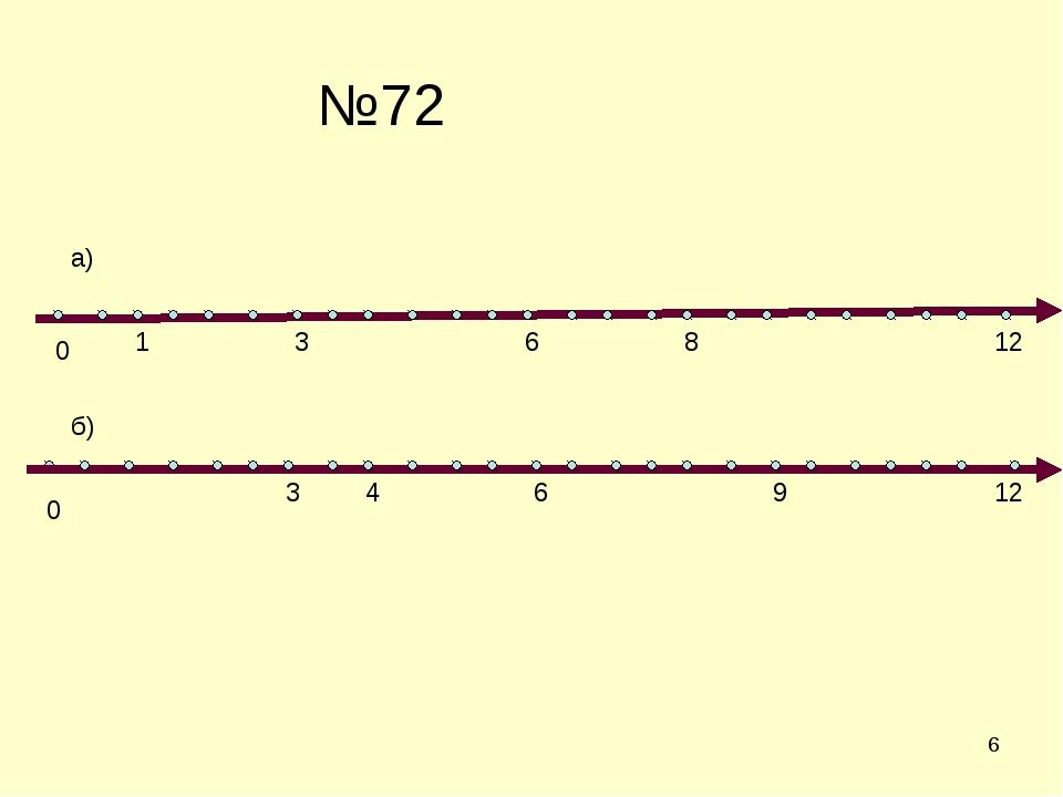 * №72 0 0 3 1 6 8 12 а) б) 3 4 6 9 12