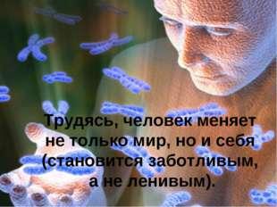 Трудясь, человек меняет не только мир, но и себя (становится заботливым, а не