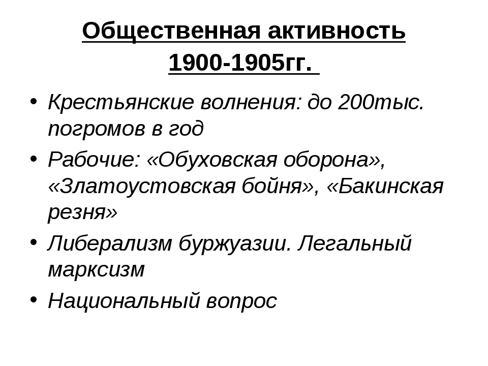 Общественная активность 1900-1905гг. Крестьянские волнения: до 200тыс. погром...