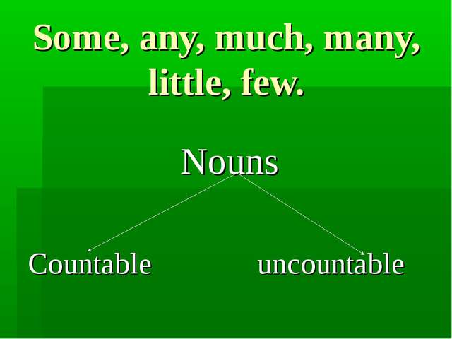 Some, any, much, many, little, few. Nouns Countable uncountable
