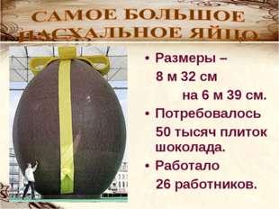 Размеры – 8 м 32 см на 6 м 39 см. Потребовалось 50 тысяч плиток шоколада. Раб