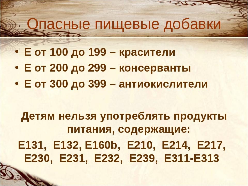 Опасные пищевые добавки Е от 100 до 199 – красители Е от 200 до 299 – консерв...