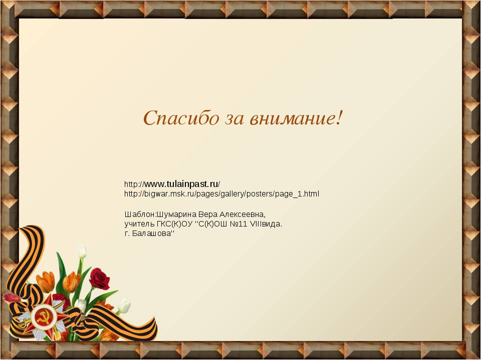 Спасибо за внимание! http://www.tulainpast.ru/ http://bigwar.msk.ru/pages/gal...