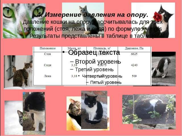 4. Измерение давления на опору. Давление кошки на опору рассчитывалась для тр...