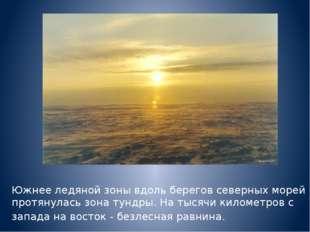 Южнее ледяной зоны вдоль берегов северных морей протянулась зона тундры. На т