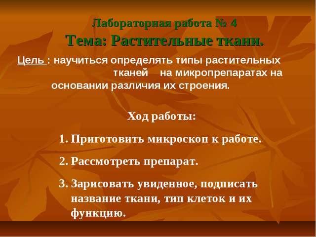 Лабораторная работа № 4 Тема: Растительные ткани. Цель : научиться определять...