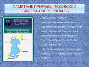 ПАМЯТНИК ПРИРОДЫ ПСКОВСКОЙ ОБЛАСТИ–ОЗЕРО «ЛОКНО» Озеро ЛОКНО является уникаль
