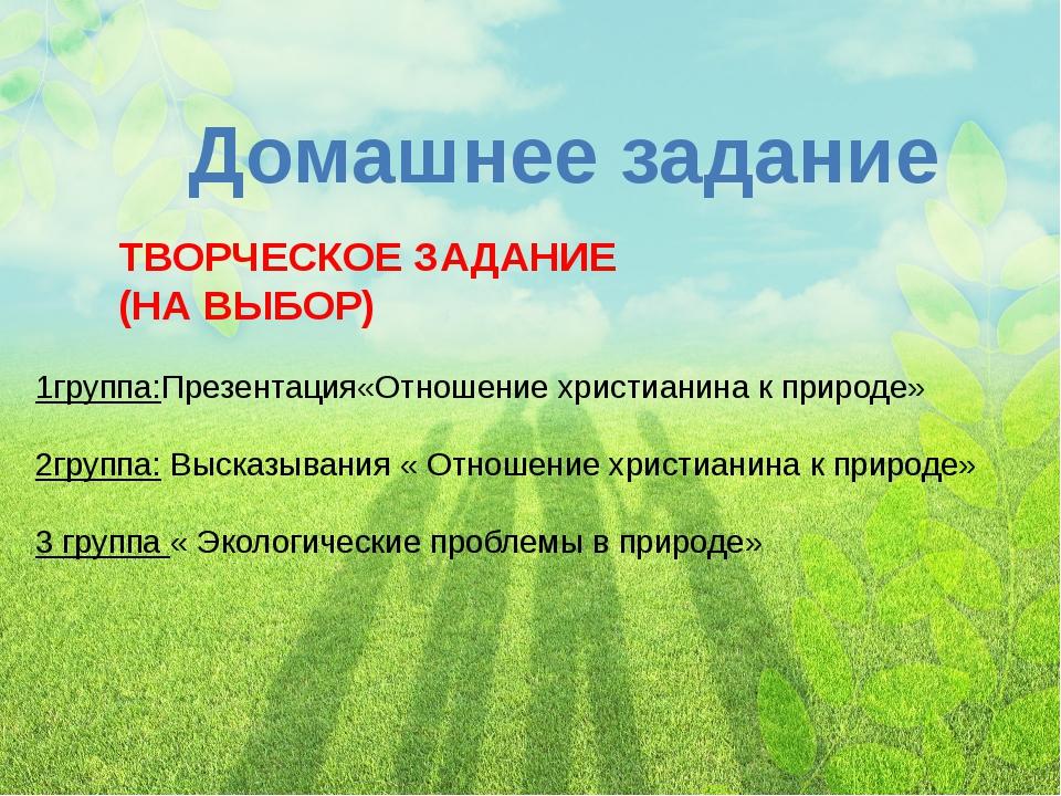 Домашнее задание 1группа:Презентация«Отношение христианина к природе» 2группа...