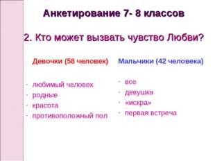 Анкетирование 7- 8 классов 2. Кто может вызвать чувство Любви? Девочки (58 че