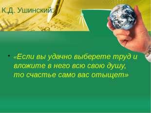К.Д. Ушинский: «Если вы удачно выберете труд и вложите в него всю свою душу,