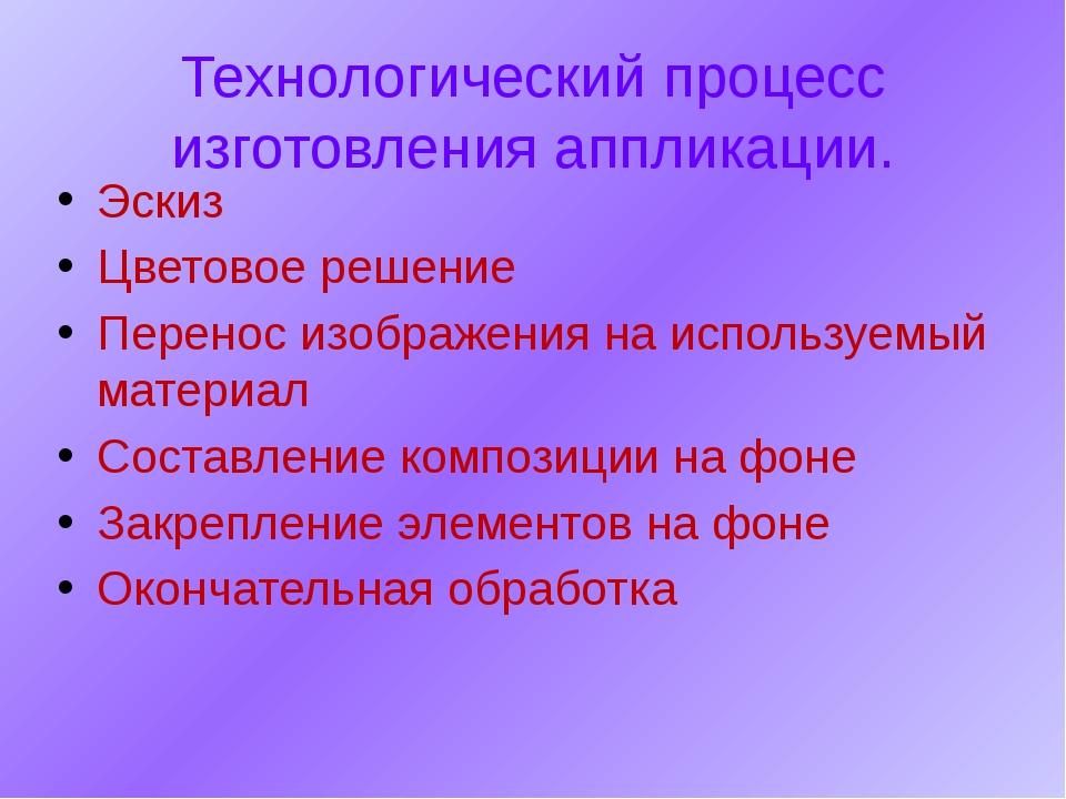 Эскиз Цветовое решение Перенос изображения на используемый материал Составлен...