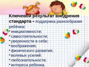 Ключевой результат внедрения стандарта – поддержка разнообразия ребёнка: ини