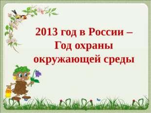 2013 год в России – Год охраны окружающей среды
