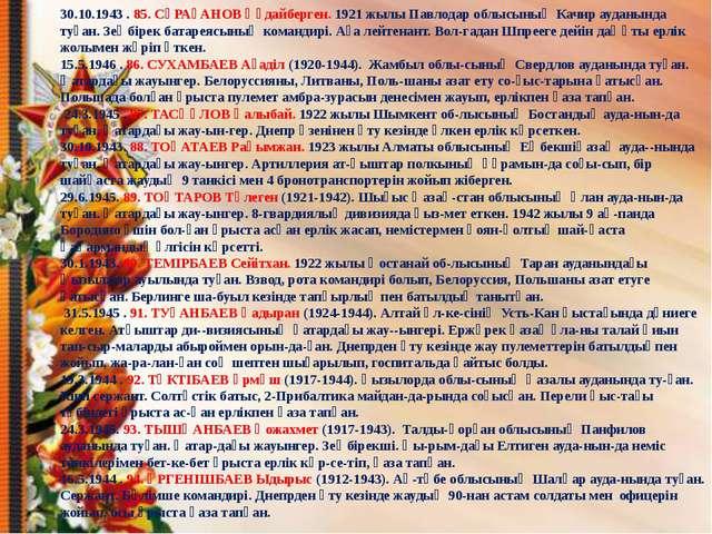 30.10.1943 . 85. СҰРАҒАНОВ Құдайберген. 1921 жылы Павлодар облысының Качир ау...