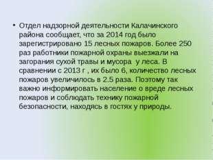 Отдел надзорной деятельности Калачинского района сообщает, что за 2014 год бы