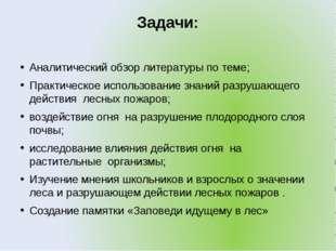 Задачи: Аналитический обзор литературы по теме; Практическое использование зн