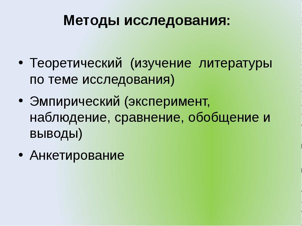 Методы исследования: Теоретический (изучение литературы по теме исследования)...