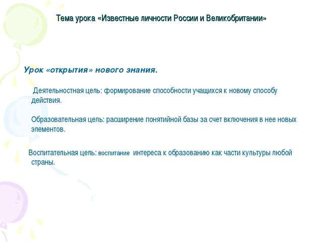 Тема урока «Известные личности России и Великобритании» Урок «открытия» новог...