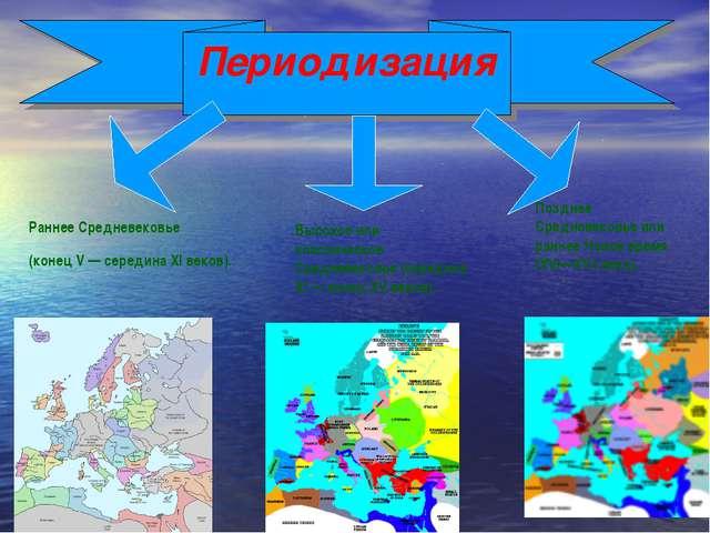 Раннее Средневековье (конец V— середина XI веков). Периодизация Высокое или...