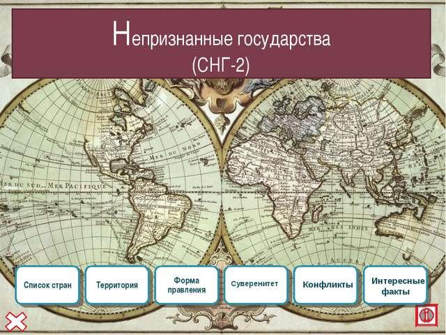 Непризнанные государства (СНГ-2) Конфликты Суверенитет Интересные факты