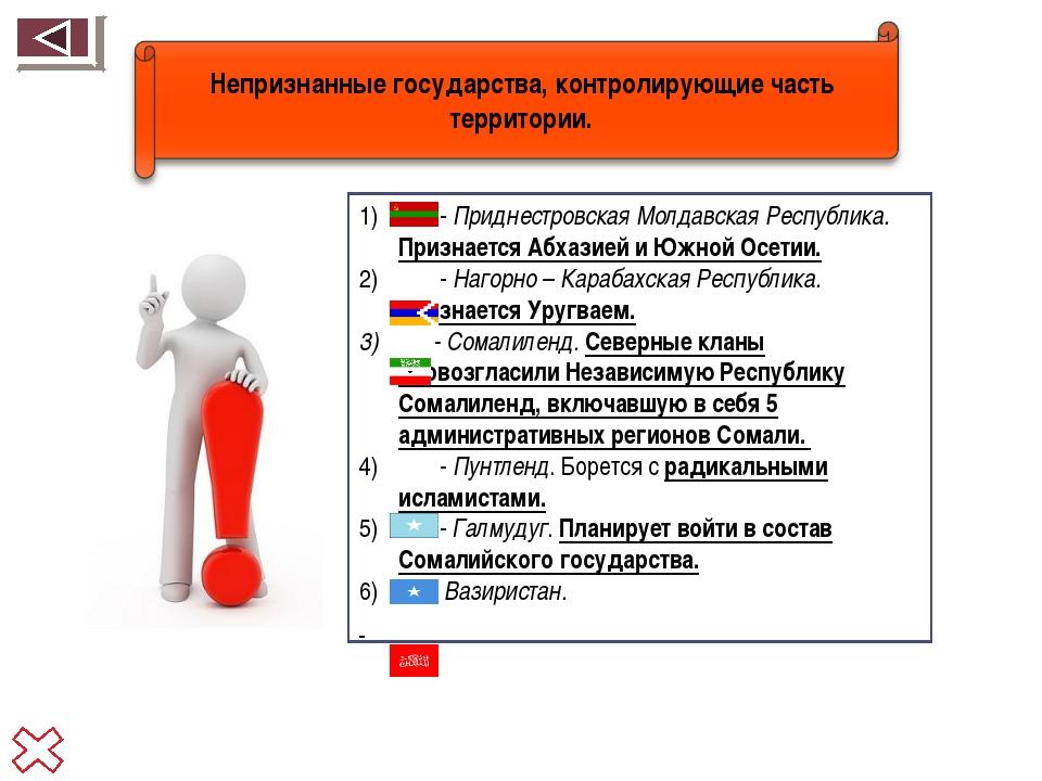 - Приднестровская Молдавская Республика. Признается Абхазией и Южной Осетии....
