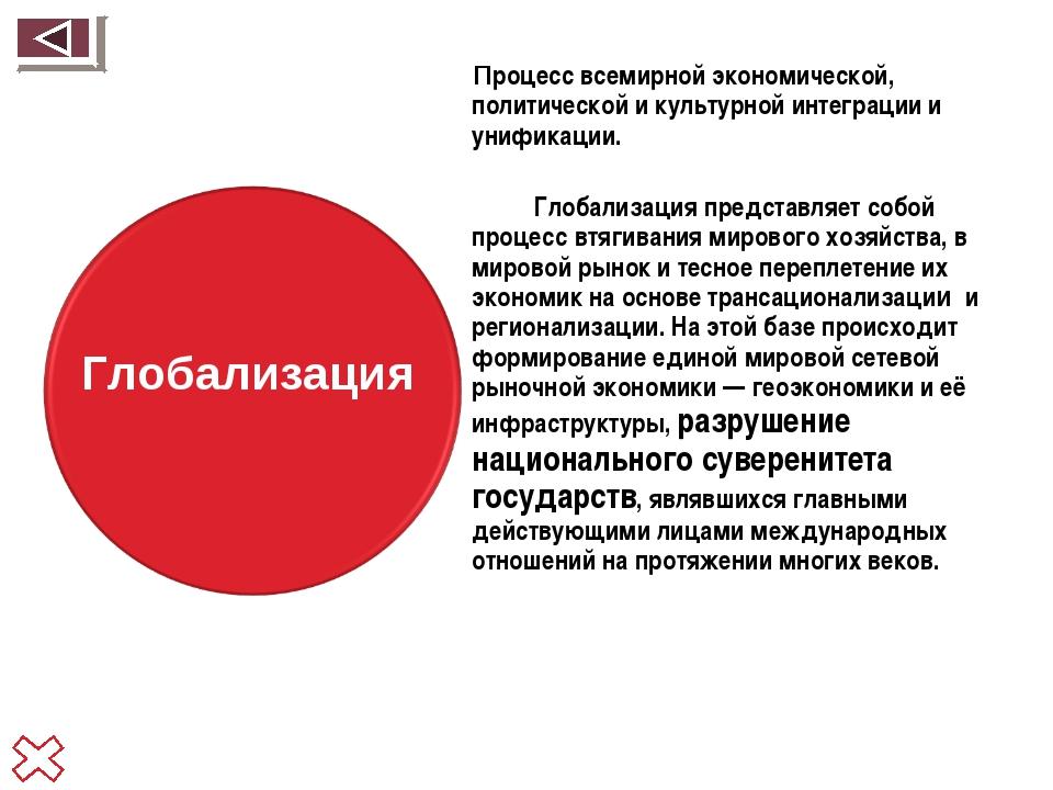 Процесс всемирной экономической, политической и культурной интеграции и униф...