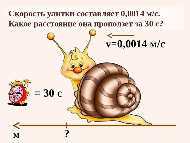 Скорость улитки составляет 0,0014 м/с. Какое расстояние она проползет за 30 с...