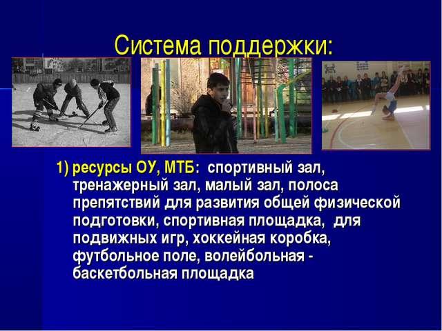 1) ресурсы ОУ, МТБ: спортивный зал, тренажерный зал, малый зал, полоса препят...