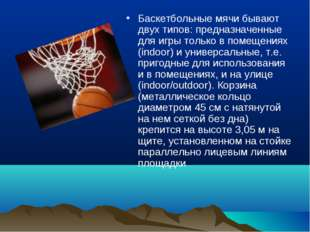 Баскетбольные мячи бывают двух типов: предназначенные для игры только в помещ