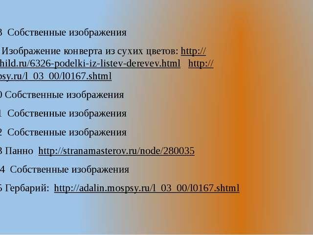 Слайд №18 Собственные изображения Сайт № 19 Изображение конверта из сухих цв...