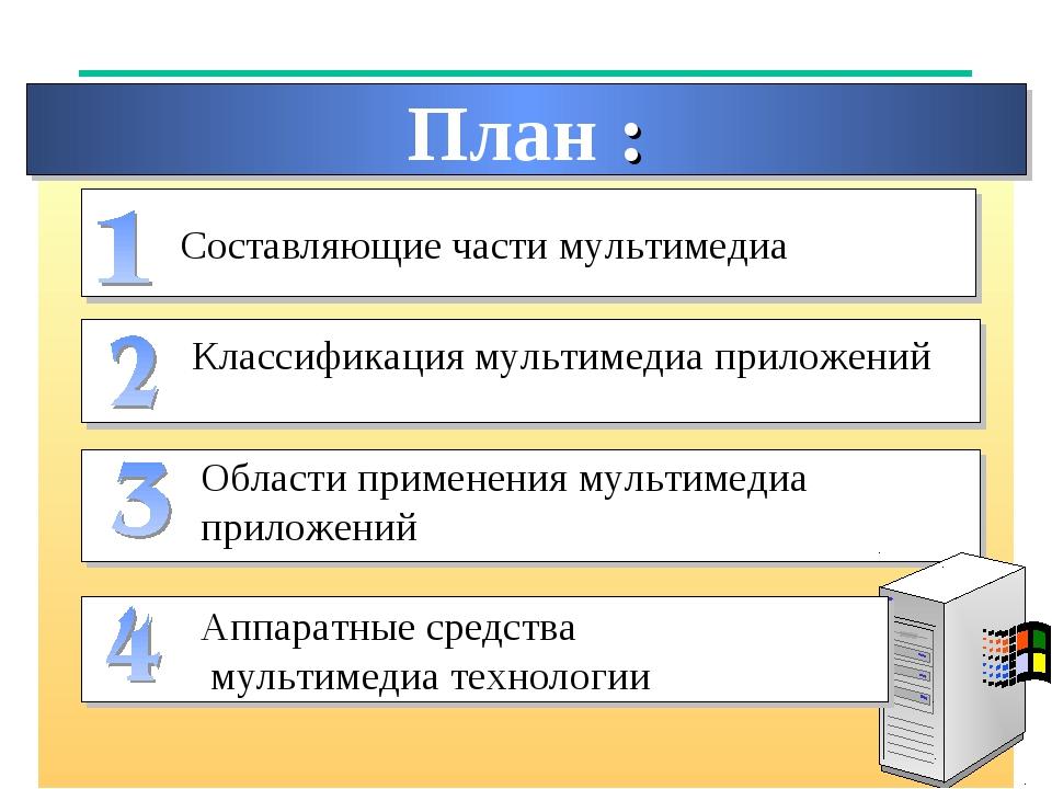 План : Классификация мультимедиа приложений Области применения мультимедиа п...