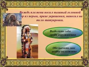 Вождь племени носил пышный головной убор из перьев, яркие украшения, наносил