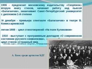 1906 - предлагает московскому издательству «Скорпион» вторую книгу стихов, на