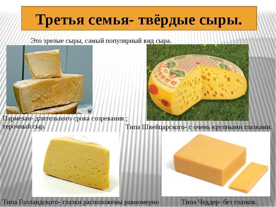 Третья семья- твёрдые сыры. Это зрелые сыры, самый популярный вид сыра. Парме...