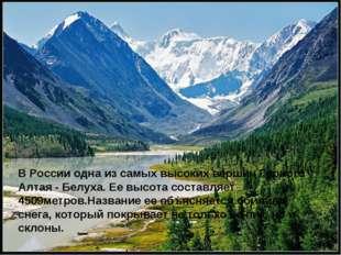 В России одна из самых высоких вершин Горного Алтая - Белуха. Ее высота соста