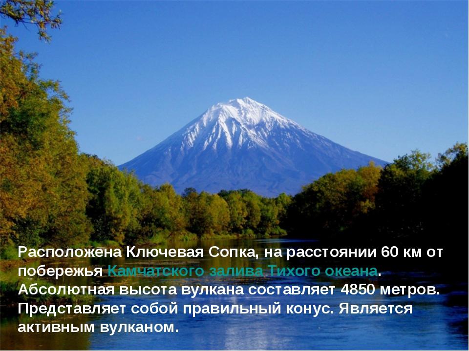 Расположена Ключевая Сопка, на расстоянии 60км от побережья Камчатского зали...