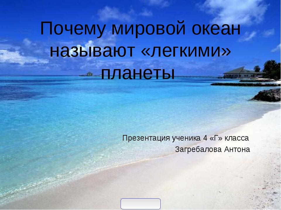 Почему мировой океан называют «легкими» планеты Презентация ученика 4 «Г» кл...