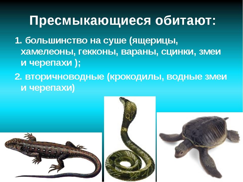 Пресмыкающиеся обитают: 1. большинство на суше (ящерицы, хамелеоны, гекконы,...