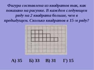 Фигура составлена из квадратов так, как показано на рисунке. В каждом следующ