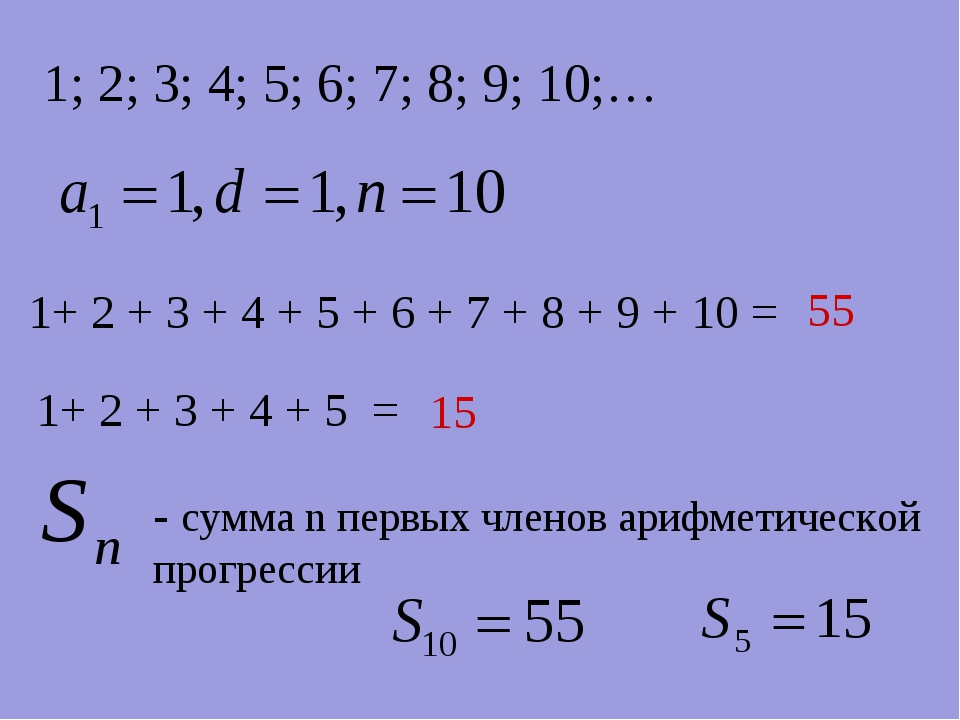 1; 2; 3; 4; 5; 6; 7; 8; 9; 10;… 1+ 2 + 3 + 4 + 5 + 6 + 7 + 8 + 9 + 10 = 55 1+...